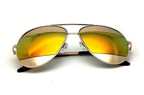 Gafas de sol de aviador mixto con espejos reflectantes, verde, azul, cobre, rosa dorado