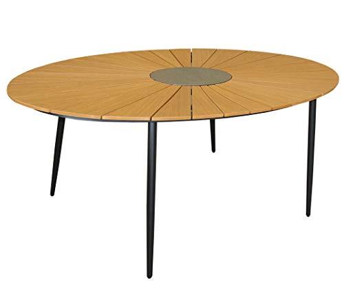 KMH®, Ovaler Holzimitat-Tisch/Gartentisch *Wolfsburg* 180 x 115 cm (#106162)