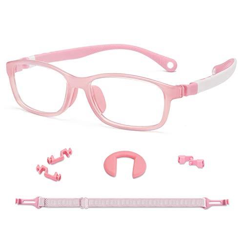 KidMoments Kinder Blaue Licht Blockierende Brille für Jungen und Mädchen im Alter von 5 bis 14 Jahren, Silikonrahmen mit ergonomischem Design, UV400-Schutzglas gegen Ermüdung (Quadratisches Rosa)