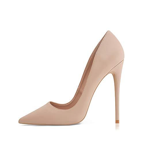 Zapatos de tacón para mujer, clásicos, tacones altos, sexi, con 12 cm de altura del tacón, piel lisa, talla 36-42 EU, color Beige, talla 36 EU