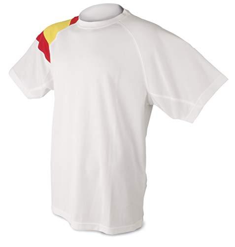 Camiseta Bandera D&F-Camiseta Blanca con los Colores de España (XL) Pecho: 55.5 CM Largo: 72.5 CM  Largo DE Manga: 39 CM  Ancho DE Manga: 25 CM  Cuello: Ancho 15 CM