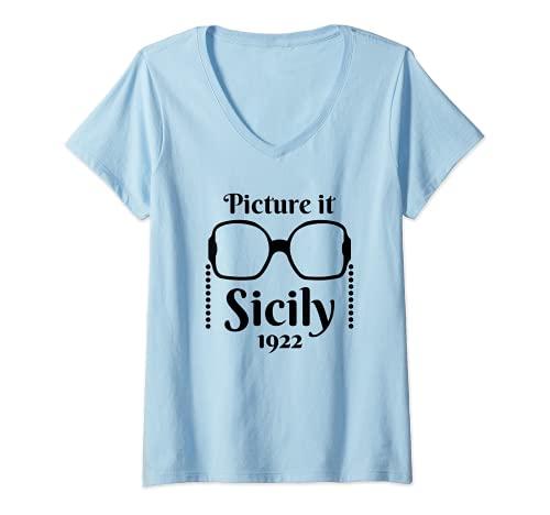 Mujer Imagínelo ... Sicily 1922 Diseño de cita de estilo de Camiseta Cuello V