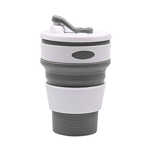 Asuthink Faltbarer becher Kaffeebecher, Reisebecher faltbare Tasse Silikon Becher wiederverwendbar faltbarer becher für Outdoor Camping Wandern Home Office Reisen - grau