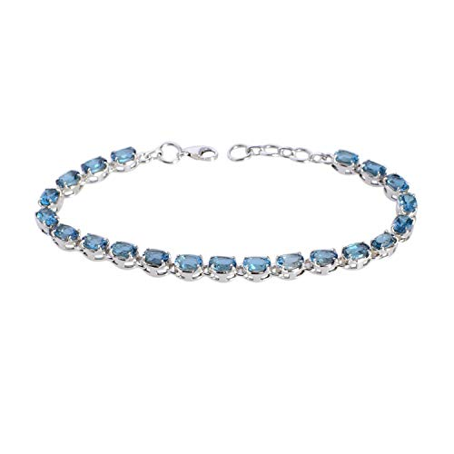 Ravishing Impressions Jewellery Natural London Blue Topaz Gem 925 Pulsera de plata de ley maciza, joyería de diseñador FSJ-5032