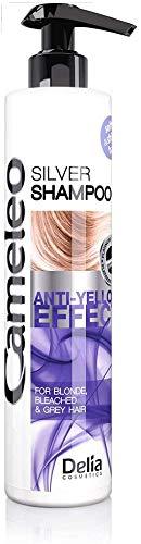 Cameleo - Silber-Shampoo - kein Gelb-Effekt - für blondes, graues, gebleichtes Haar - UV-Schutz - tägliche Anwendung - Platin-Reflexe, lila Shampoo für Aufhellung & Pflege - 250 ml