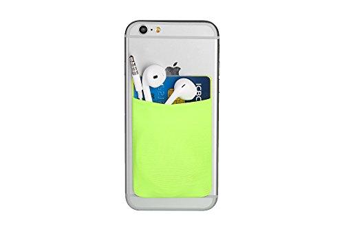 Cerbery - Titolare della Carta per Smartphone - Supporto Cellulare Custodia Cuffie - Compatibile con Apple iPhone Samsung Galaxy (Neon Verde)