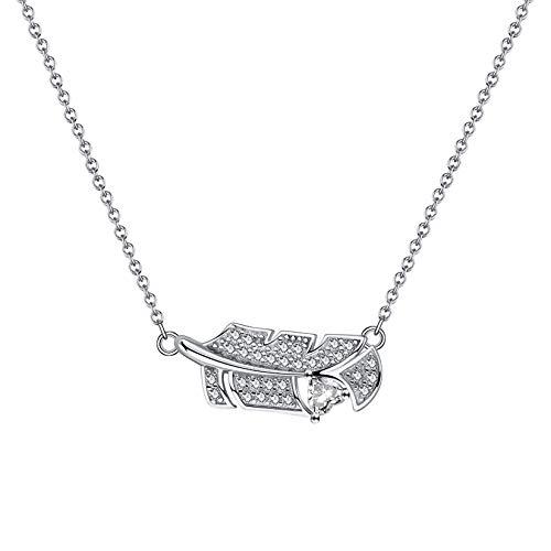 Cinsionze Collar con colgante de plumas de personalidad de plata de ley 925 con forma de corazón y circonitas cúbicas engastando 45 cm 45,7 cm o cadena corta gargantilla clavícula