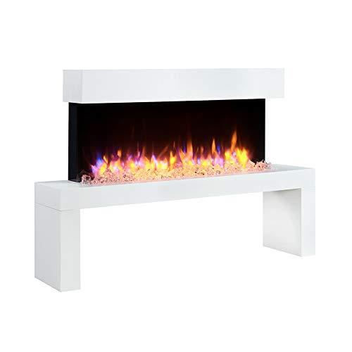 RICHEN - Chimenea eléctrica, modelo Kiana, chimenea eléctrica de pie con calefacción, iluminación LED, efecto de llamas en 3D y mando a distancia, color blanco