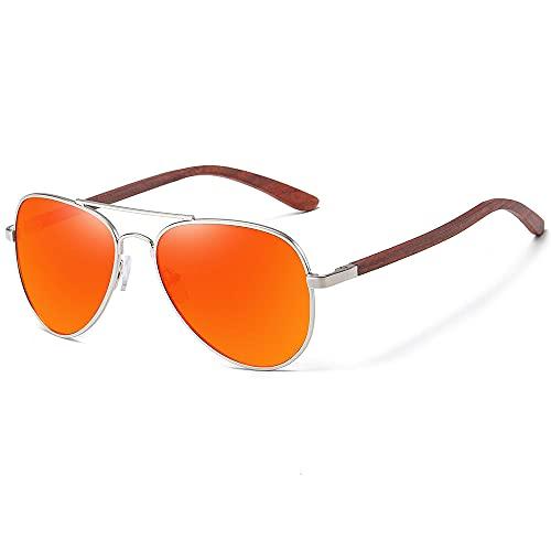 WQZYY&ASDCD Gafas de Sol Gafas De Sol Clásicas De Madera Aviador con Montura De Metal, Gafas De Sol De Madera para Hombres, Gafas De Sol De Lujo para Conducción De Metal, Rojo
