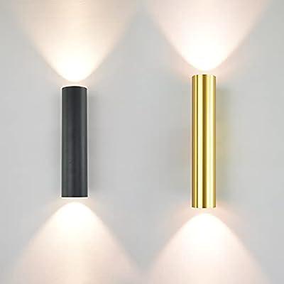 Doré/Noir 1 2W LED Lampe Murale Haut et Bas éclairage Lumineux intérieur, Moderne LED Sconces murales Appareils de lumière Lampes pour Salle de séjour (Color : Warm White, Size : WA315B-30L)