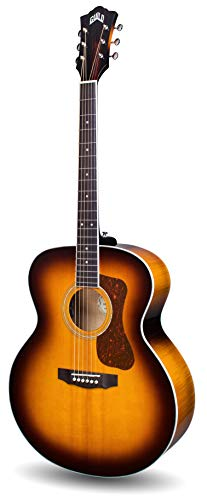 Guild Guitars F-250E Deluxe Maple ATB Acoustic Guitars, Antique Burst Jumbo Archback Deluxe Solid Top, Westerly Collection