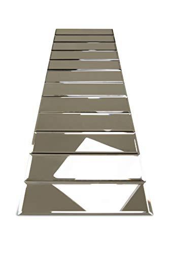 3 x 10 Bronze Glass Mirror Tiles Backsplash with Beveled Edge Mirrored Subway Tiles for Kitchen Wall & Bathroom