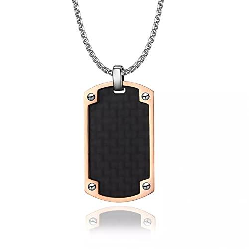SOTUVO Collar de Hombre con Etiqueta de Perro Colgante de Fibra de Carbono para Regalo de joyería de Soldado Militar de Acero Inoxidable eslabón de Cadena de 24 Pulgadas
