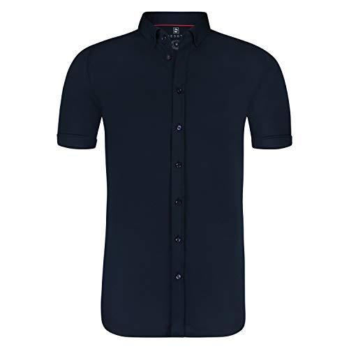 DESOTO bügelfreies Premium - Jersey Halbarm Hemd aus mercerisierter Baumwolle (XXL, Blau (057))