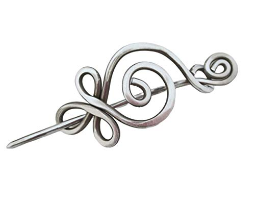 Celtic Budding Spiral Aluminum Shawl Pin, For Knitted or Crocheted Scarf Pin, Sweater Brooch