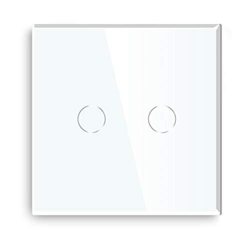 BSEED Interruptor regulador de luz 2 Gang 1 Way LED Dimmer Switch Interruptor de luz con pantalla táctil interruptor táctil de pared Blanco (Adaptador Led requerido)