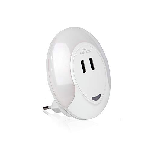 Luz nocturna LED con sensor crepuscular y dos puertos de carga USB | Lampara de noche con enchufe para habitacion o pasillo con sensor de claridad | Luz quitamiedos con interruptor para bebes y niños