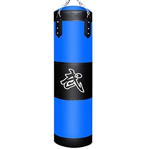 Hbao 60cm 80cm 100cm 120cm Leerer Boxsack Boxsack Hängender Kick Sandsack Boxtraining Kampf Karate Sandsack mit Handschuh Handgelenkschutz (Color : Blue, Size : 80cm)