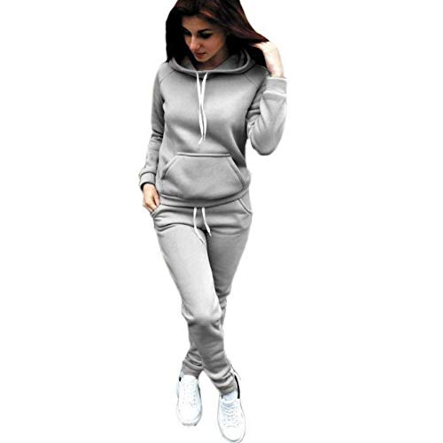 SUKIYAKI Women Jogger Outfit Matching Sweat Suits Long Sleeve Hooded Sweatshirt and Sweatpants 2 Piece Sports Sets (M, Grey)