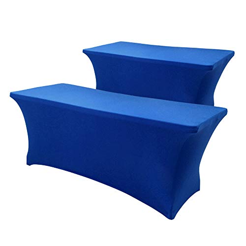 Hipinger 2 Pack Stretch Spandex Table Cover for 6 Ft Rectangle Tables, 72' Length x 30' Width x 30' Height Fitted Tablecloth for Standard Folding Tables (Royal Blue, 6 ft.)
