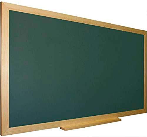 Pizarra verde para tiza con marco madera natural de pino incluye bandeja cajetín. Ideal para la decoración infantil en habitación de niños, hogar, casa, cocinas, oficinas (88 x 64)