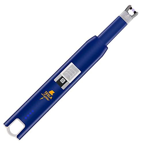 TESLA Lighter TESLA Lighter T07 Lichtbogen-Feuerzeug, elektronisches USB Stabfeuerzeug, Single-Arc Lighter, wiederaufladbar Blau Blau
