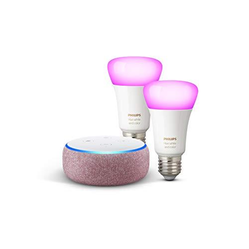 Echo Dot (3.ª generación), tela de color malva + Philips Hue White & Color Ambiance Pack de 2 bombillas LED inteligentes, compatible con Bluetooth y Zigbee, no se requiere controlador