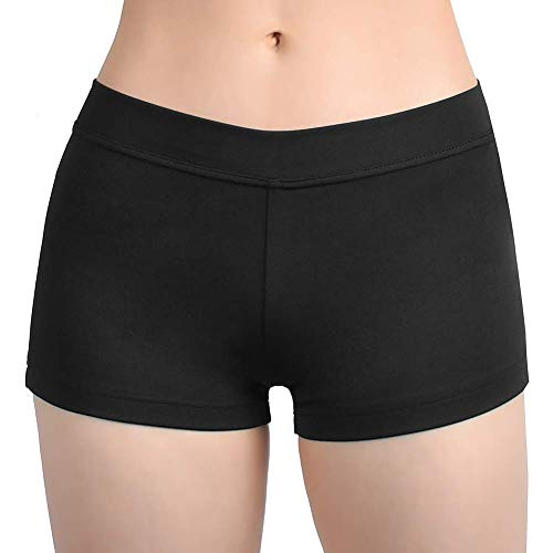 SUPRNOWA Girl's Women's Boy Cut Low Rise Spandex Active Dance Shorts Yoga Workout Fitness (Black, Medium)