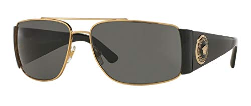 Versace VE2163 100287 63M Gold/Grey Rectangle Sunglasses For Men For Women+FREE Complimentary Eyewear Care Kit