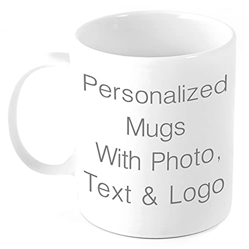 Custom Coffee Mug w Photo & Text Customized Coffee Mug Add Photo, Logo, Picture or Text on Personalized Coffee Mug Ceramic Mothers day Christmas Photo Mug Mom Dad and Office Tazas Personalizadas 11oz