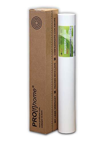 Profhome Renoviervlies 150 g Malervlies Anstrich-Vlies glatte überstreichbare Vliestapete weiß | 18,75 qm 25 Meter Rolle - 2