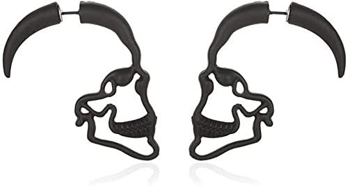 Ghlevo Pendientes Esqueletos Hueco Punk Retro Cráneo Cuelga Pendientes para Mujeres Halloween Party (Color : Black)