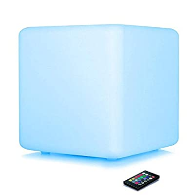 LOFTEK LED Light Cube: 16-inch 16 RGB Colors Dimming Cube Chair with Remote Control, Rechargeable Cool Stools, IP65 Waterproof Glow Furniture Perfect for Kid's Room, Party, Nursery, Pool Deck, Bar