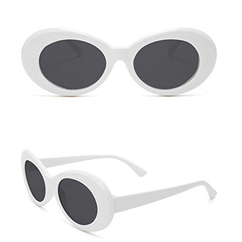 Dairyshop Dame Fashion Vintage Sonnenbrille Runde Rahmen Katze Auge Übergroße UV Schutz Sonnenbrille (Weiß Grau)