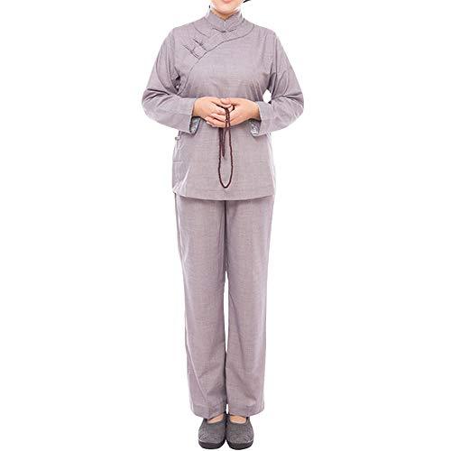 ZooBoo Monk Buddhist Costume Robes - Chinese Traditional Taoism Buddha Shaolin Thai Long Sleeve Martial Art Stand-Collar Wushu Kung Fu Pant Dress Suits Shirt Uniforms Set for Women (S, Gray)