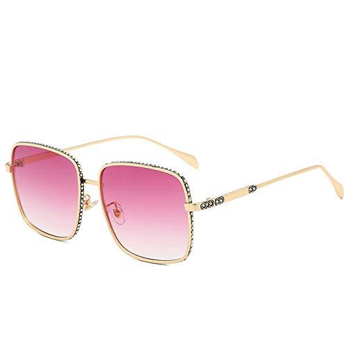 QINGZHOU Gafas de Sol,Las gafas de sol de moda con montura cuadrada modifican la forma de la cara. Gafas de mujer Gafas de sol de metal de moda para mujer, dorado claro/violeta gradual