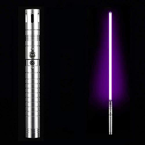 Sable de luz duelo, espada luminosa, con juguetes de lucha contra el sonido, accesorios de vestir Force FX, regalo de cumpleaños para niños, mango de aluminio, luz azul (mango de plata y luz púrpura)