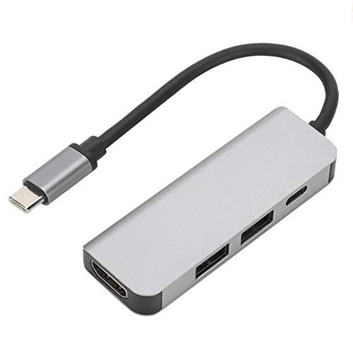 Concentrador USB-C 4 en 1, Adaptador multipuerto portátil, estación de Acoplamiento Tipo c con Puerto USB C, 2 Puertos USB3.0, Interfaz HDMI, para HDTV, Lector de Tarjetas, Dispositivo USB C