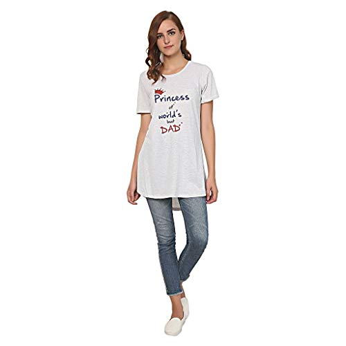 TRAZO Printed Round Neck Thigh Length Half Sleeve Cotton T Shirts for Women in Grey XXL Size