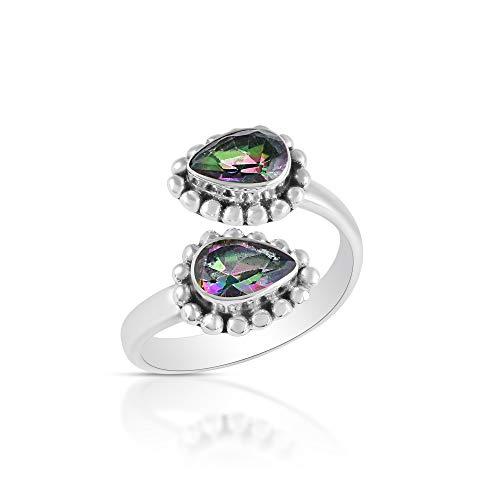 Sechi By Siblings Anillo de cuarzo arcoíris hecho a mano de plata de ley 925 elegante para uso diario para mujer