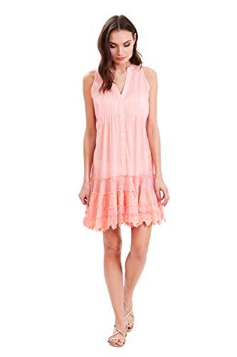 Amita Naithani - Sunny Isles Pintuck Lace Tunic - Peach - X-Large