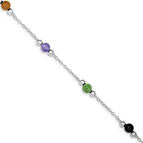 925 Sterling Silver Polished Multi Color Dyed Jade Anklet Spring Ring Jewelry Gifts for Women - 23 Centimeters