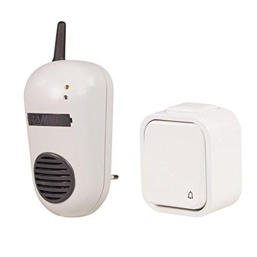 ZAMEL SUN10000010 Elektronische deurbel met knop (230 V, max. 85 dB, 2 ton) beige met grijze en witte knop