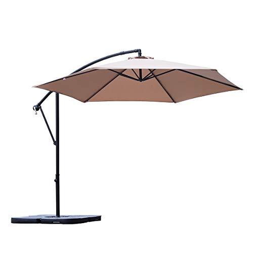 Sekey® Ampelschirm 300 cm Sonnenschirm Kurbelschirm Taupe mit Kurbelvorrichtung Sonnenschutz, UV50+