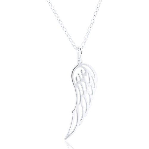 WANDA PLATA Collar ala de Angel Plata para Chica, Mujer Joven en Plata de Ley 925 Colgante y Cadena incluida 40 cm, ala de Angel, Ángel de la Guarda