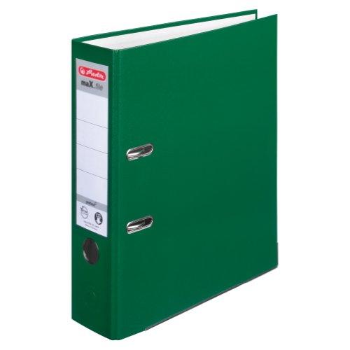 Herlitz 9942673 Ordner maX.file protect A4 8cm, PP-Kunststoffbezug/Papier hellgr.besch. 5er Packung, Farbe grün