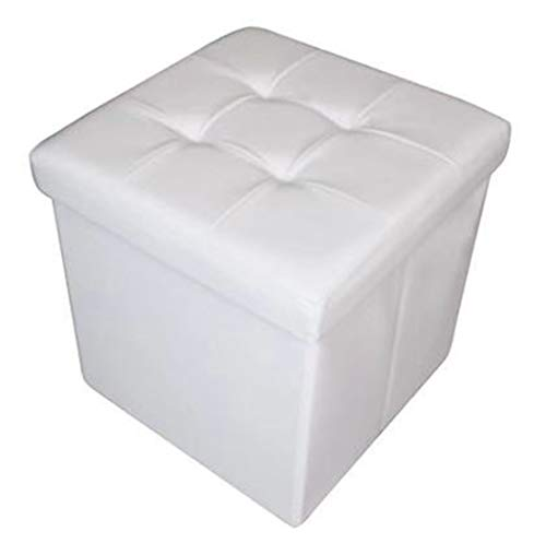 HomeHarmony Quilted Top Folding Storage Ottoman Seat, Stool, Toy Storage Box Faux Leather (White, Medium)