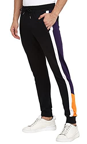 Alan Jones Clothing Men's Colour Blocked Solid Slim Joggers Track Pants