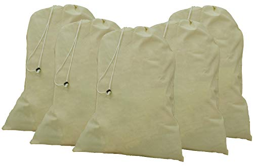 """Cotton Laundry Bag, 5 Pack - 24"""" x 36"""" - 100% Cotton, Locking Drawstring Closure for Easy Carrying, Perfect Laundry Bag for Laundry at Home,Laundry Bag for College Students Living in Dorms"""