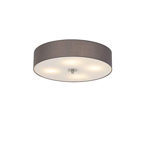 QAZQA Modern/Landhaus/Vintage/Rustikal Country Deckenleuchte/Deckenlampe/Lampe/Leuchte grau 50 cm - Drum mit Schirm/ 4-flammig/Innenbeleuchtung/Wohnzimmerlampe/Schlafzimmer/Küche Gl
